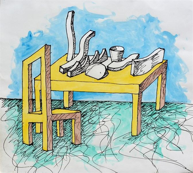 """Hans Van de Bovenkamp, """"Surreal Breakfast,"""" 2006, Original handpainted print, 28"""" x 31.5"""""""